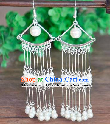 Top Grade Chinese Handmade Wedding Accessories Pearls Tassel Eardrop Hanfu Earrings for Women