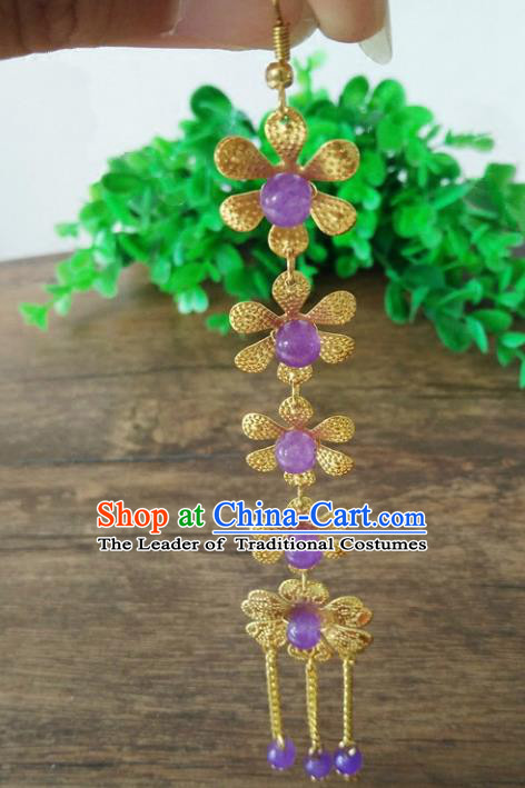 Ancient Chinese Handmade Hair Accessories Classical Purple Beads Frontlet Hairpins for Women