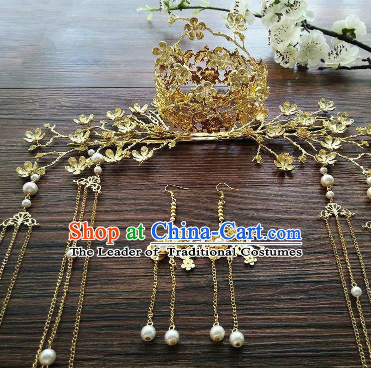 Ancient Chinese Handmade Classical Hair Accessories Golden Phoenix Coronet Hairpins Complete Set for Women