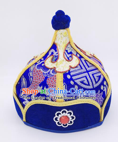 Traditional Chinese Mongol Nationality Handmade Hat, Handmade Mongolian Minority Royalblue Hats Headwear for Kids