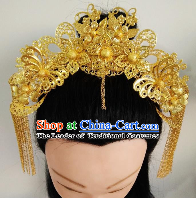 Ancient Chinese Handmade Golden Phoenix Coronet Hair Accessories Classical Tassel Hairpins for Women