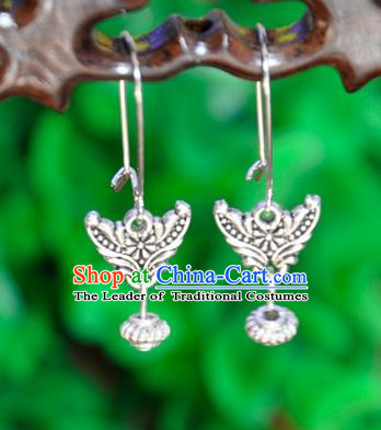 Top Grade Chinese Handmade Accessories Sliver Eardrop Wedding Hanfu Palace Earrings for Women