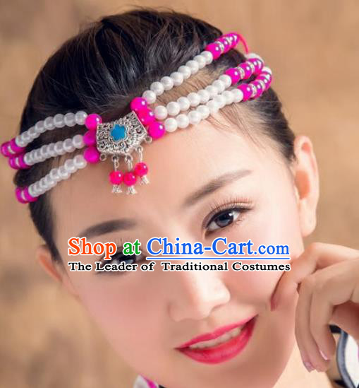 Traditional Chinese Mongol Nationality Handmade Hair Accessories, Mongolian Minority Rosy Beads Headwear for Women