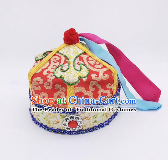 Traditional Chinese Mongol Nationality Prince Handmade Hair Accessories, Mongolian Minority Red Hats for Kids