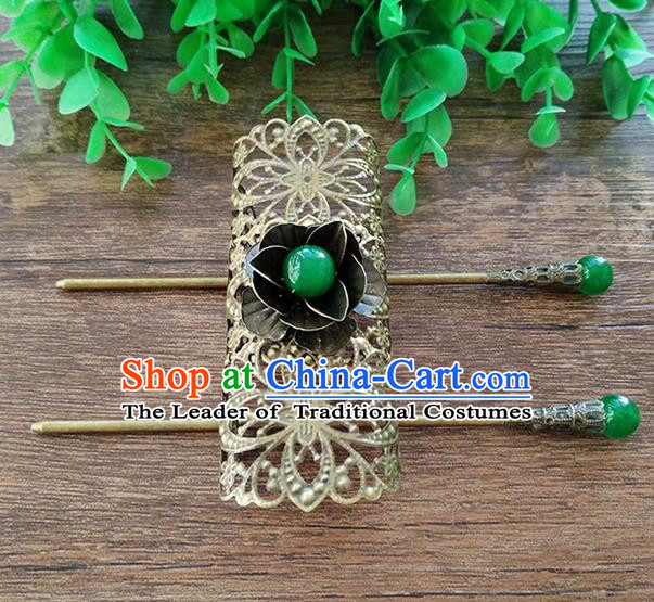 Handmade China Ancient Nobility Childe Hair Accessories Swordsman Bronze Hairdo Crown for Men