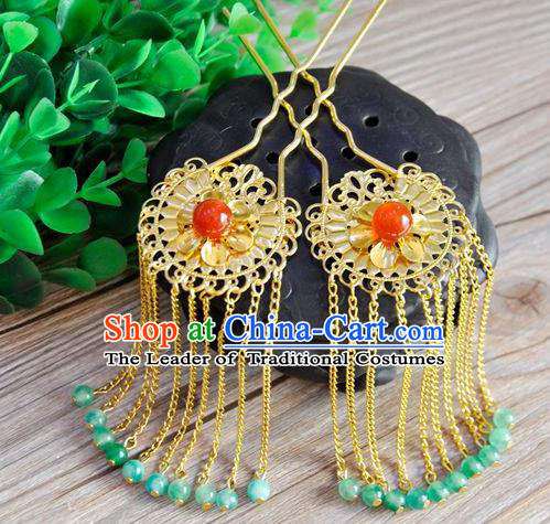 Ancient Chinese Handmade Jade Beads Tassel Hair Clips Hair Accessories Classical Hairpins for Women