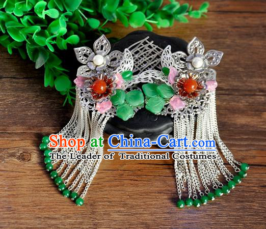 Ancient Chinese Handmade Tassel Hair Combs Hair Accessories Classical Hairpins for Women