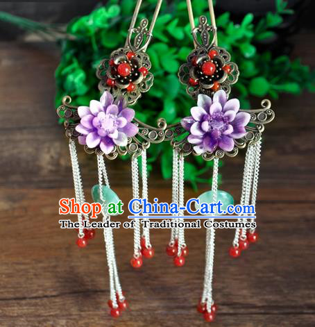 Ancient Chinese Handmade Purple Flower Hair Clip Hair Accessories Classical Hairpins for Women
