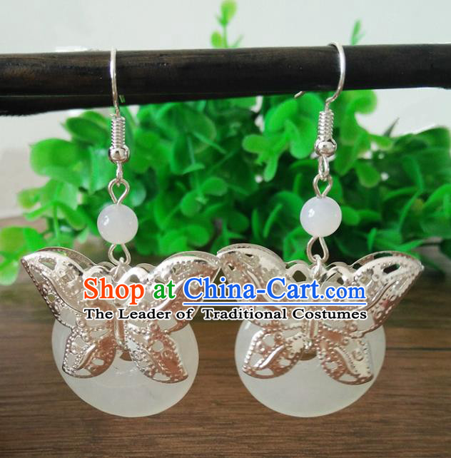 Top Grade Chinese Handmade Accessories Butterfly Eardrop Hanfu White Jade Earrings for Women