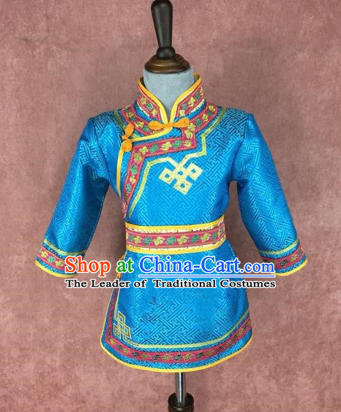 Traditional Chinese Mongol Nationality Costume Children Blue Mongolian Robe, Mongolian Folk Dance Clothing for Kids