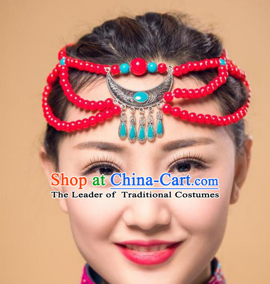 Traditional Chinese Mongol Nationality Dance Hair Accessories, Handmade Mongolian Minority Beads Hair Clasp Headwear for Women