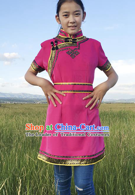 Traditional Chinese Mongol Nationality Costume Rosy Dress, Mongolian Folk Dance Clothing for Women