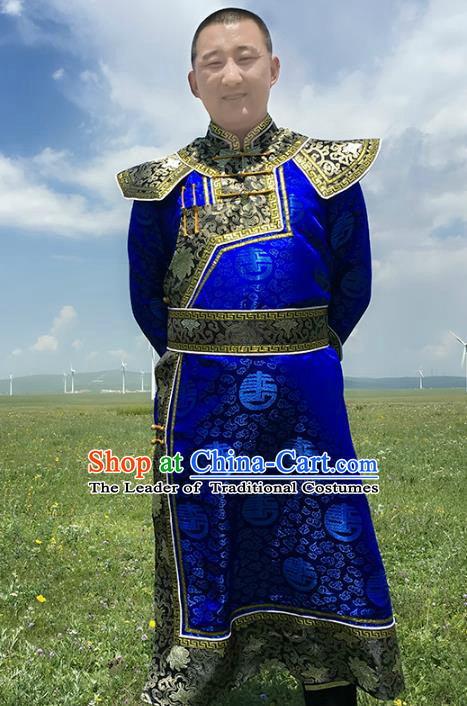 Chinese Mongol Nationality Royal Highness Costume, Traditional Mongolian Folk Dance Clothing Royalblue Mongolian Robe for Men