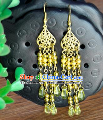 Top Grade Chinese Handmade Accessories Hanfu Eardrop Golden Beads Tassel Earrings for Women