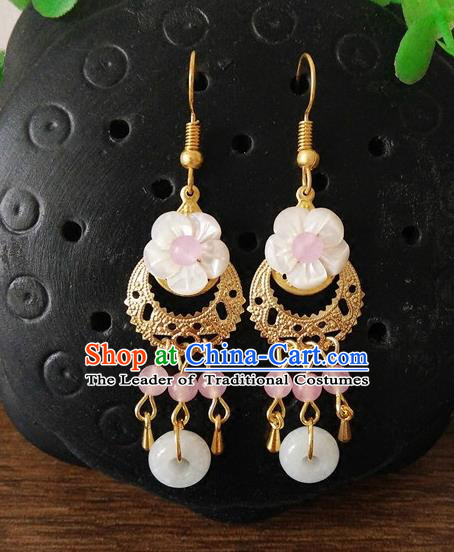 Top Grade Chinese Handmade Accessories Hanfu Eardrop Shell Earrings for Women