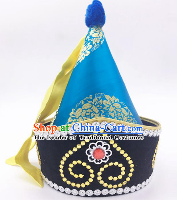Traditional Chinese Mongol Nationality Prince Blue Hat, Mongolian Minority Dance Hats for Men