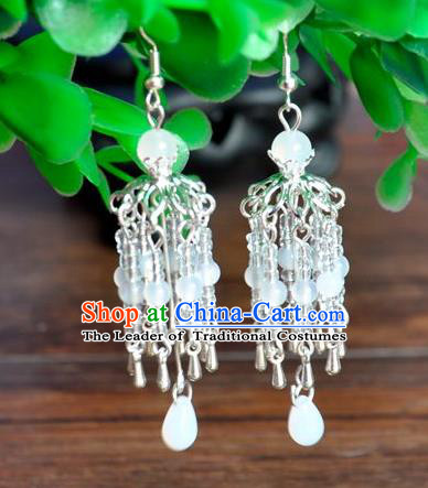Top Grade Chinese Handmade Accessories Hanfu Eardrop Beads Tassel Earrings for Women