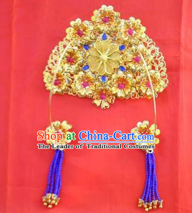 Ancient Chinese Handmade Hair Accessories Classical Hairpins Bride Phoenix Coronet for Women