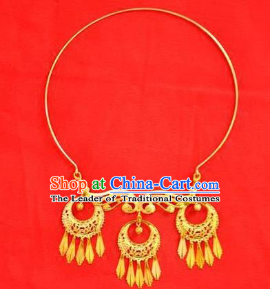 Chinese Ancient Handmade Wedding Necklet Jewelry Accessories Golden Necklace for Women