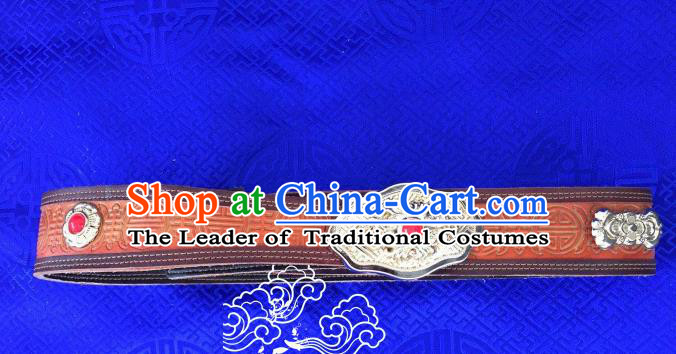 Traditional Chinese Mongol Nationality Waist Accessories, Mongolian Minority Leather Belts Waistband for Women