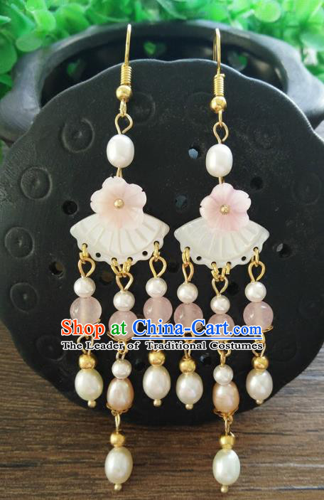 Chinese Handmade Accessories Hanfu Shell Pearls Eardrop Ancient Earrings for Women