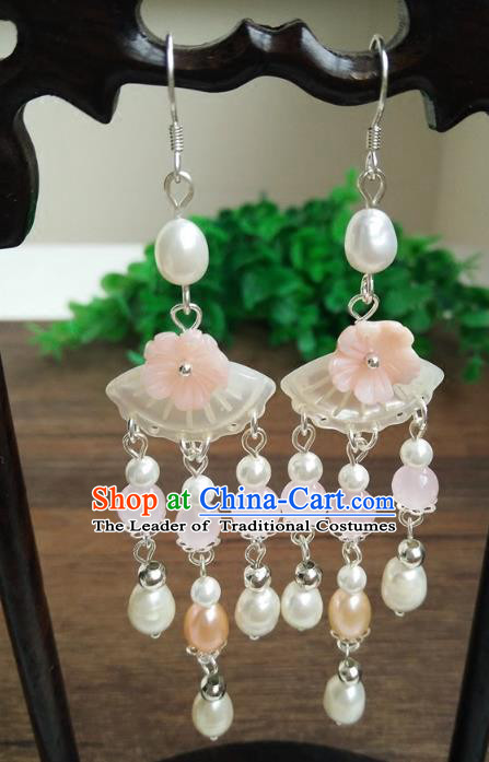 Chinese Handmade Accessories Hanfu Shell Pearls Eardrop Ancient Tassel Earrings for Women