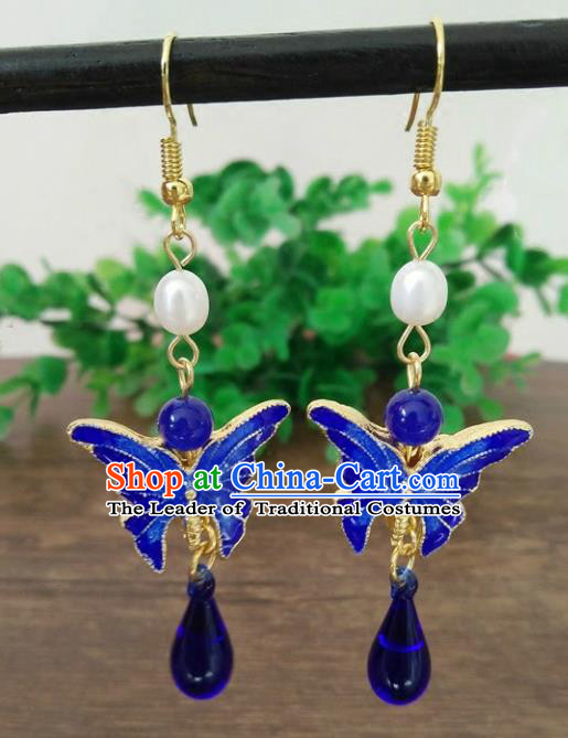 Chinese Handmade Accessories Hanfu Cloisonne Butterfly Eardrop Ancient Tassel Earrings for Women