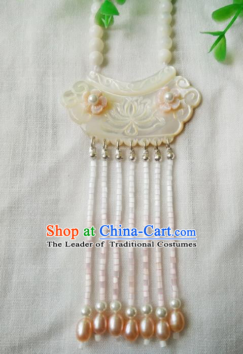 Chinese Ancient Handmade Longevity Lock Jewelry Accessories Shell Pearls Necklace for Women