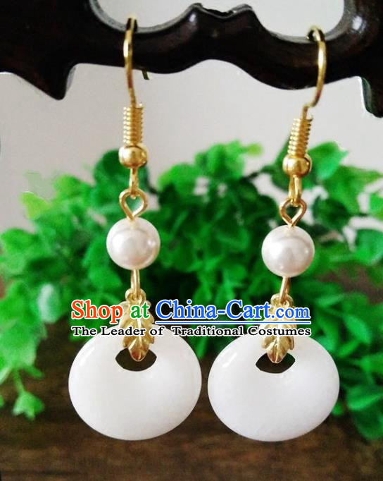 Top Grade Chinese Handmade Accessories Hanfu Aventurine White Eardrop Ancient Earrings for Women