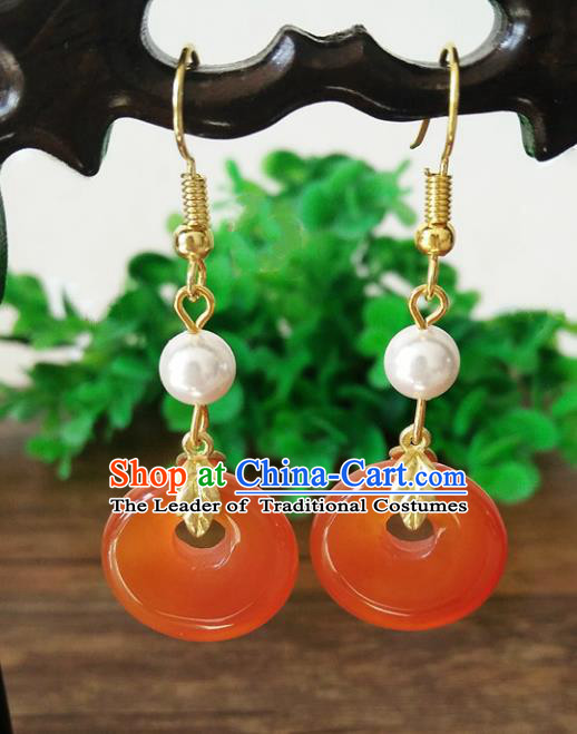 Top Grade Chinese Handmade Accessories Hanfu Aventurine Red Eardrop Ancient Earrings for Women