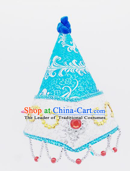 Traditional Chinese Mongol Nationality Blue Hats Hair Accessories, Mongolian Minority Dance Headwear for Kids