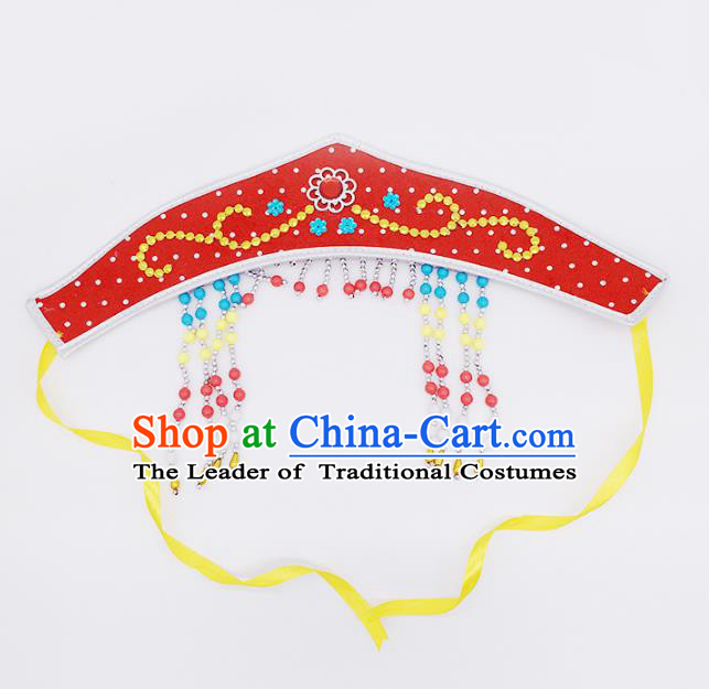 Traditional Chinese Mongol Nationality Red Headband, Mongolian Minority Hair Accessories Dance Headwear for Kids