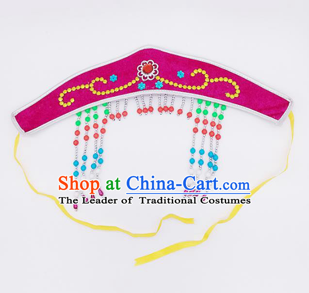 Traditional Chinese Mongol Nationality Rosy Headband, Mongolian Minority Hair Accessories Dance Headwear for Kids