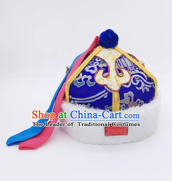 Traditional Chinese Mongol Nationality Children Royalblue Hats, Mongolian Minority Hair Accessories Dance Headwear for Kids