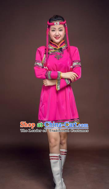 Chinese Mongol Nationality Rosy Costume, Traditional Mongolian Folk Dance Clothing Mongolian Robe for Women
