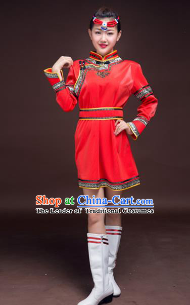Chinese Mongol Nationality Red Costume, Traditional Mongolian Folk Dance Clothing Mongolian Robe for Women