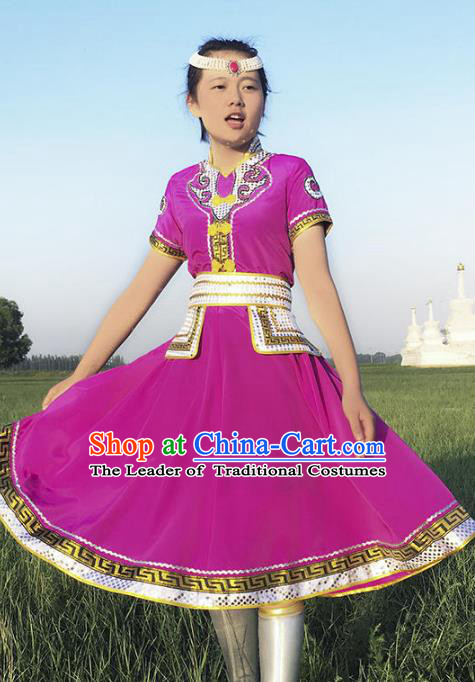 Chinese Mongol Nationality Ethnic Costume Purple Dress, Traditional Mongolian Folk Dance Clothing for Women
