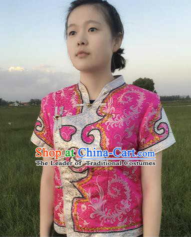 Chinese Mongol Nationality Ethnic Pink Blouse Costume, Traditional Mongolian Folk Dance Waistcoat for Women
