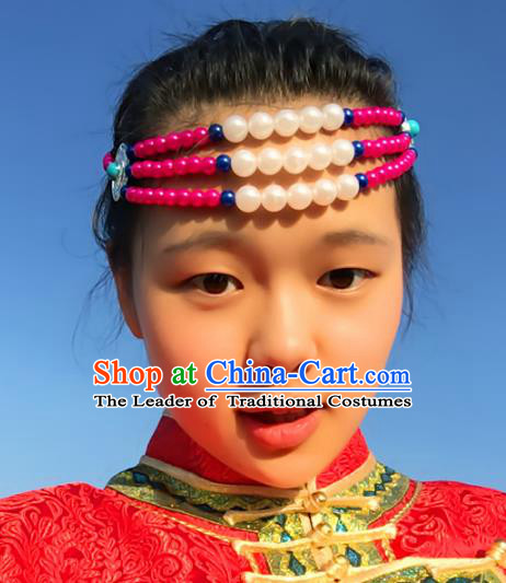 Traditional Chinese Folk Dance Hair Accessories, Mongolian Minority Pink Beads Hair Jewelry Dance Headwear for Women