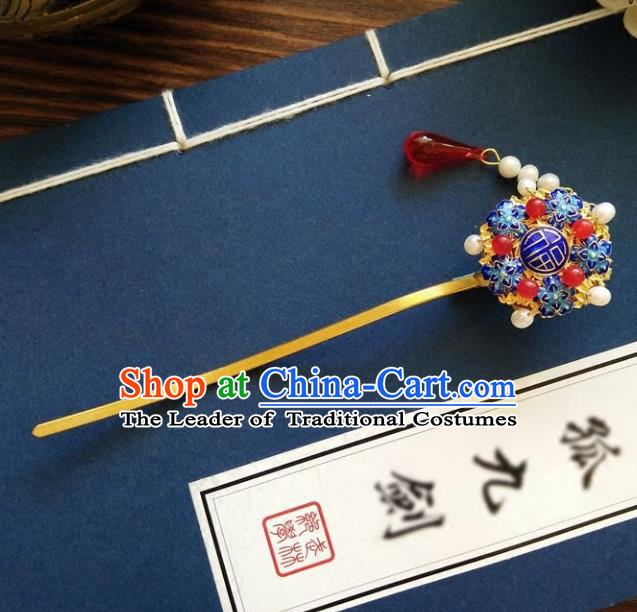 Chinese Ancient Hair Accessories Hanfu Hairpins Handmade Cloisonne Hair Clip for Women