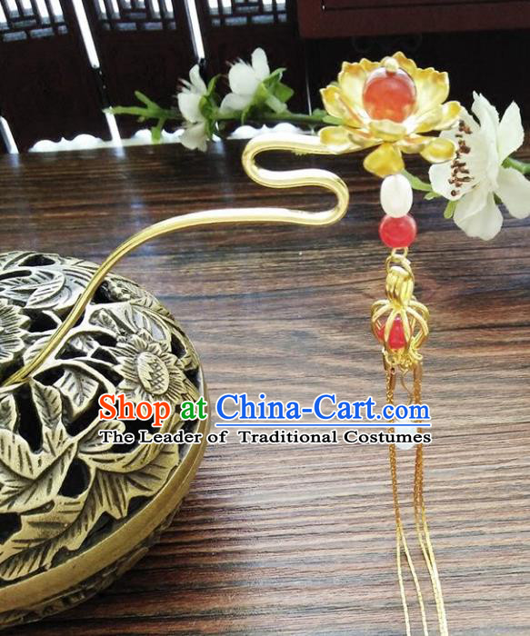 Chinese Ancient Hair Accessories Hanfu Hairpins Handmade Red Beads Lotus Hair Clip for Women