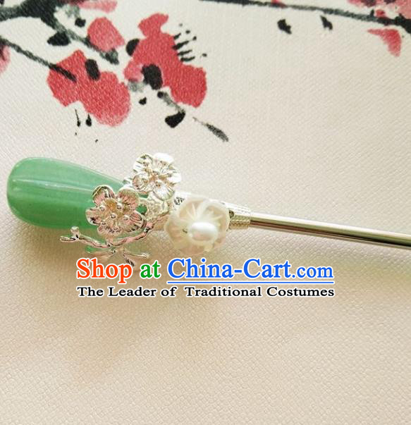 Chinese Ancient Hair Accessories Hanfu Hairpins Handmade Jade Hair Clip for Women
