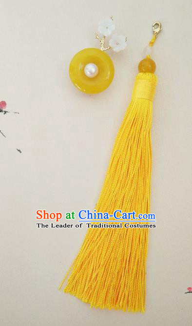 Chinese Ancient Handmade Brooch Jewelry Accessories Yellow Tassel Peace Buckle Breastpin for Women