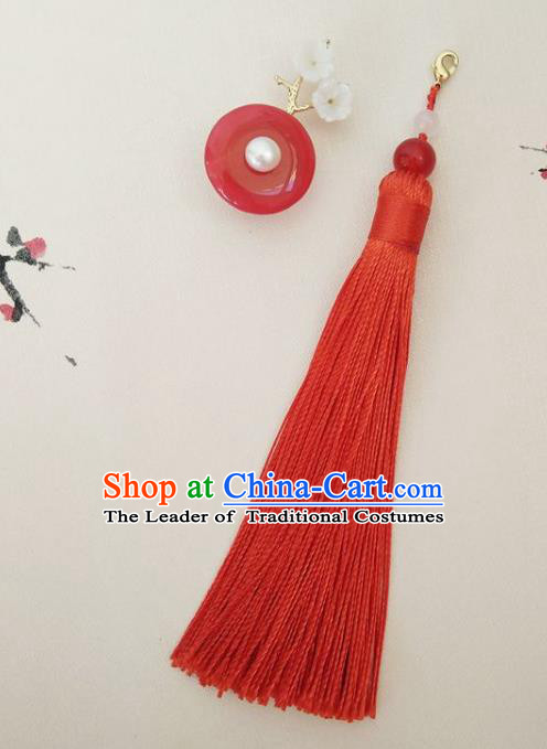 Chinese Ancient Handmade Brooch Jewelry Accessories Red Tassel Peace Buckle Breastpin for Women