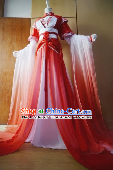 Chinese Ancient Cosplay Princess Costume Tang Dynasty Palace Lady Swordswoman Red Hanfu Dress for Women