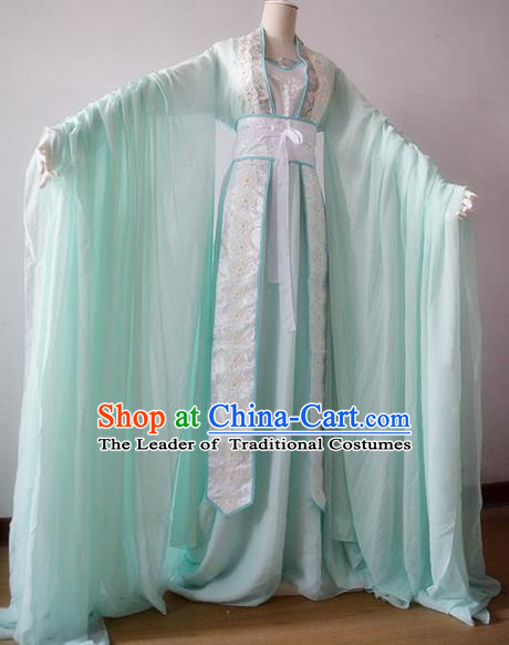 Chinese Ancient Cosplay Palace Princess Costume Tang Dynasty Swordswoman Green Hanfu Dress for Women
