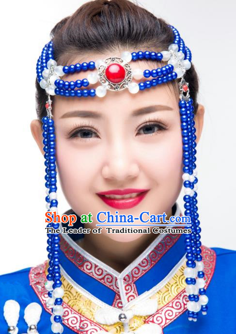 Traditional Chinese Folk Dance Blue Beads Tassel Hair Accessories, Mongolian Minority Hair Jewelry Dance Headwear for Women