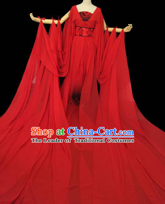 Chinese Ancient Cosplay Palace Princess Costume Tang Dynasty Swordswoman Red Hanfu Dress for Women