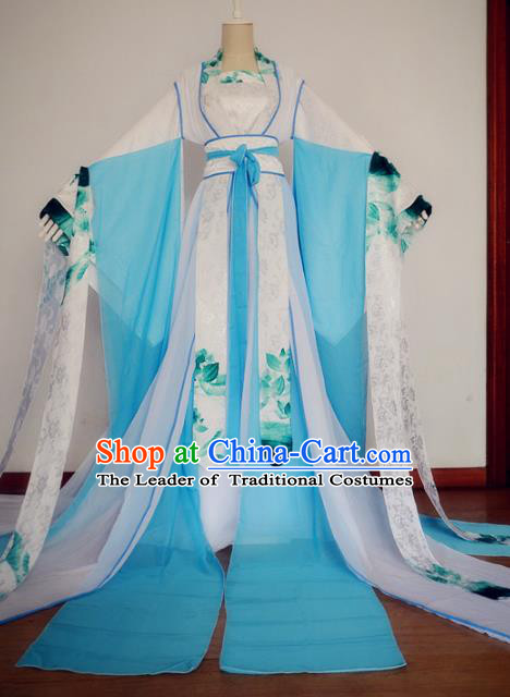 Chinese Ancient Cosplay Fairy Costume Tang Dynasty Imperial Princess Blue Hanfu Dress for Women