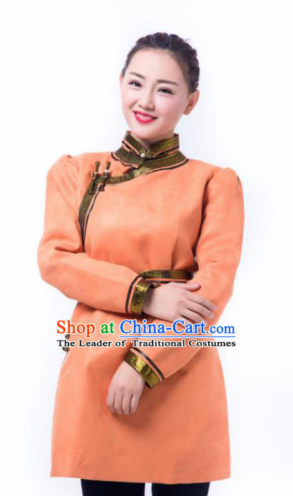 Chinese Traditional Female Orange Suede Fabric Ethnic Costume, China Mongolian Minority Folk Dance Clothing for Women
